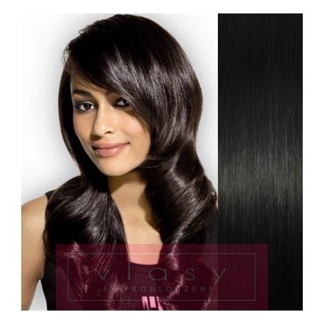 Clip in vlasy 43cm 100% lidské - REMY 70g - černá