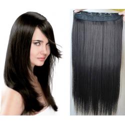 Clip in pás z pravých vlasů 43cm rovný – přírodní černá