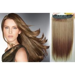 Clip in pás z pravých vlasů 53cm rovný – světle hnědá