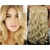 Clip in pás z pravých vlasů 63cm vlnitý – nejsvětlejší blond