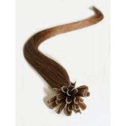 Vlasy evropského typu k prodlužování keratinem 60cm - světlejší hnědá