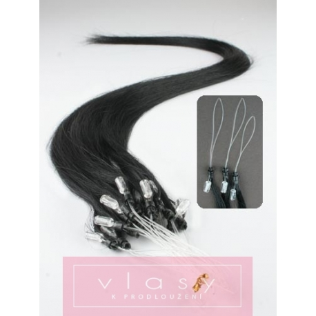 Vlasy pro metodu Micro Ring / Easy Loop / Easy Ring / Micro Loop 40cm – černé