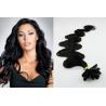 Vlnité vlasy evropského typu k prodlužování keratinem 50cm - černé