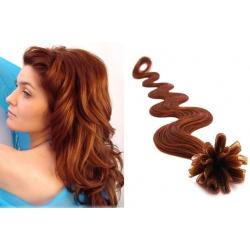 Vlnité vlasy evropského typu k prodlužování keratinem 50cm - měděná