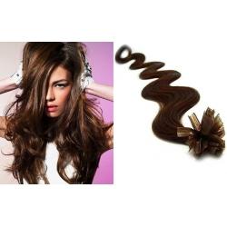 Vlnité vlasy evropského typu k prodlužování keratinem 60cm - tmavě hnědé
