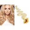 Vlnité vlasy evropského typu k prodlužování keratinem 60cm - nejsvětlejší blond
