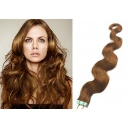 Vlnité vlasy pro metodu Pu Extension / Tape Hair / Tape IN 50cm - světle hnědé