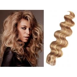 Vlnité vlasy pro metodu Pu Extension / Tape Hair / Tape IN 50cm - přírodní / světlejší blond