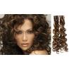 Kudrnaté vlasy pro metodu Pu Extension / Tape Hair / Tape IN 50cm - tmavý melír