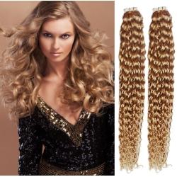 Kudrnaté vlasy pro metodu Pu Extension / Tape Hair / Tape IN 50cm - přírodní / světlejší blond