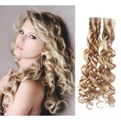 Kudrnaté vlasy pro metodu Pu Extension / Tape Hair / Tape IN 50cm - platina / světle hnědá