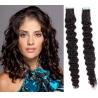 Kudrnaté vlasy pro metodu Pu Extension / Tape Hair / Tape IN 60cm - přírodní černé