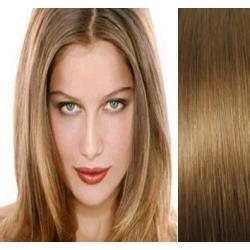 Clip in vlasy 43cm 100% lidské - EXTRA HUSTÉ 100g - světle hnědá