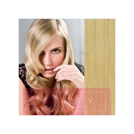 Vlasy pro metodu Pu Extension / TapeX / Tape Hair / Tape IN 60cm - přírodní blond