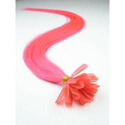 Vlasy evropského typu k prodlužování keratinem 40cm - růžové