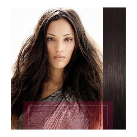 Clip in vlasy 53cm 100% lidské – REMY 100g – PŘÍRODNÍ ČERNÁ