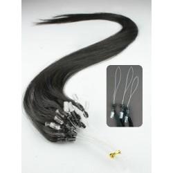 Vlasy pro metodu Micro Ring / Easy Loop / Easy Ring / Micro Loop 40cm – přírodní černá