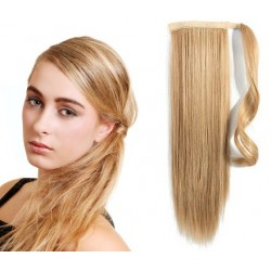 Clip in příčesek culík/cop 100% lidské vlasy 50cm - přírodní/světlejší blond