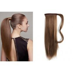 Clip in příčesek culík/cop 100% lidské vlasy 60cm - středně hnědý