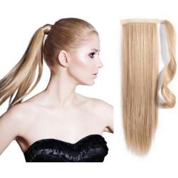 Clip in příčesek culík / cop 100% japonský kanekalon 60cm - přírodní blond