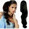 Clip in příčesek culík/cop 100% lidské vlasy 50cm vlnitý - černý