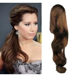 Clip in příčesek culík/cop 100% lidské vlasy 50cm vlnitý - středně hnědý