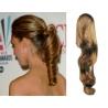 Clip in příčesek culík/cop 100% lidské vlasy 60cm vlnitý - světle hnědý