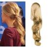 Clip in příčesek culík/cop 100% lidské vlasy 60cm vlnitý - přírodní blond